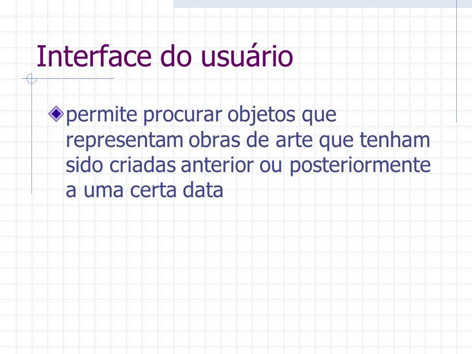 Interface do usuário permite procurar objetos que representam obras de arte que tenham sido criadas anterior ou posteriormente a uma certa data.
