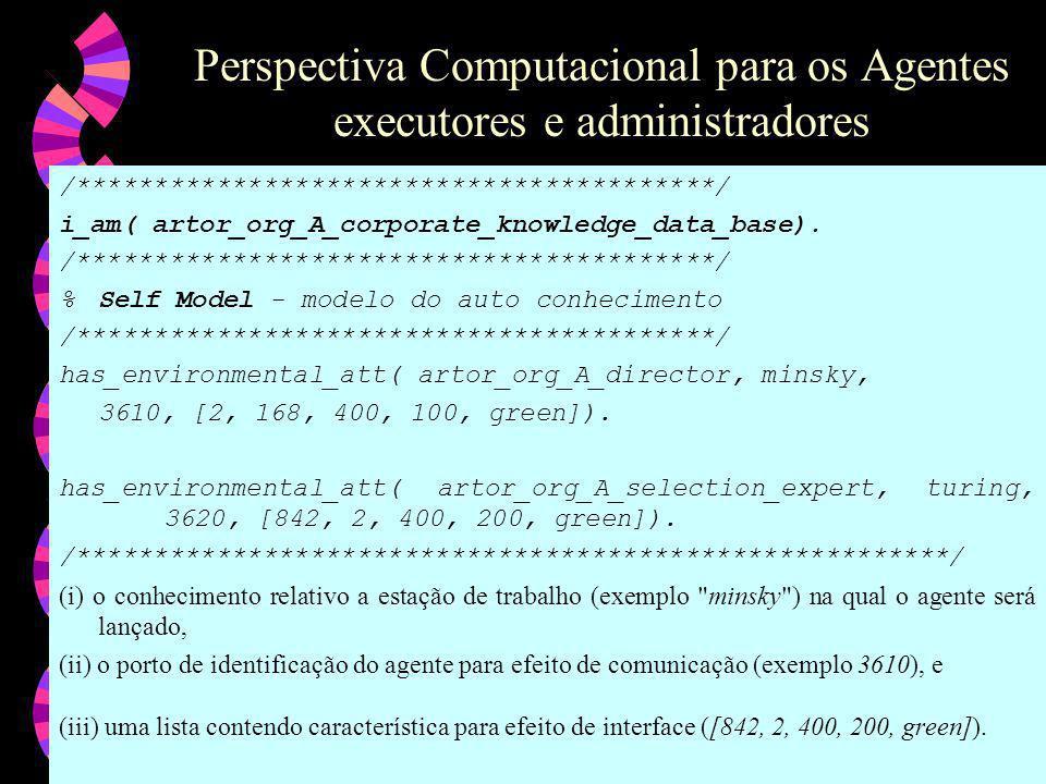 Perspectiva Computacional para os Agentes executores e administradores
