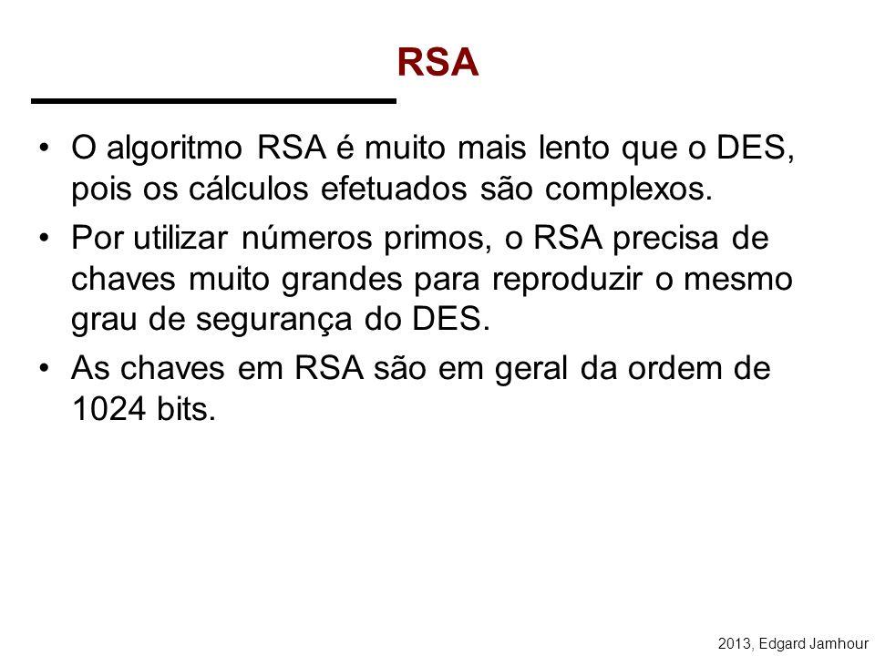 RSA O algoritmo RSA é muito mais lento que o DES, pois os cálculos efetuados são complexos.