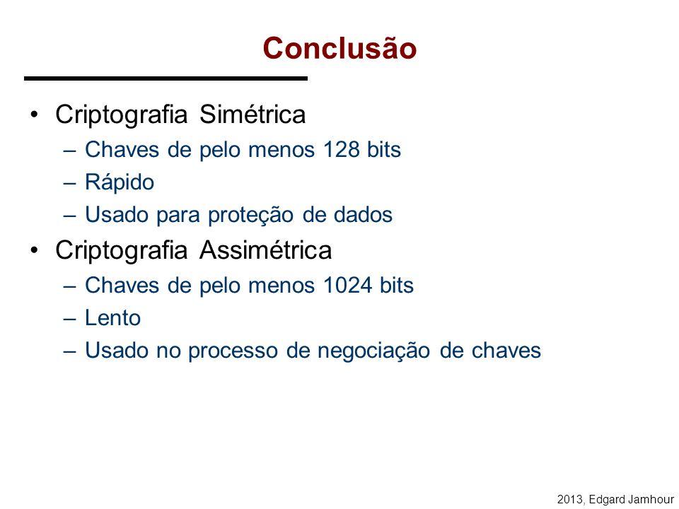 Conclusão Criptografia Simétrica Criptografia Assimétrica