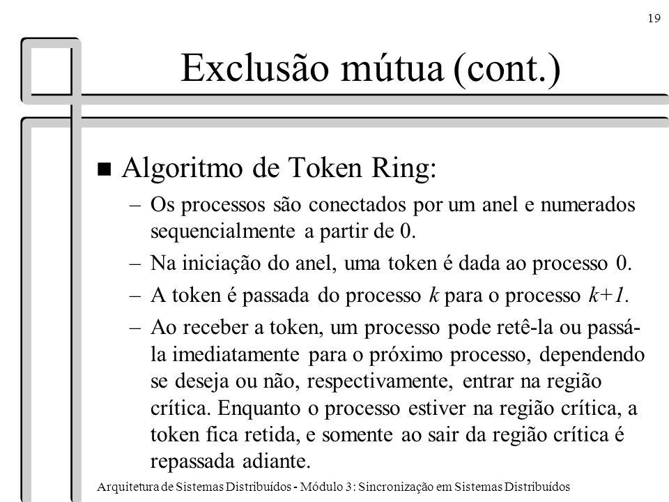 Exclusão mútua (cont.) Algoritmo de Token Ring: