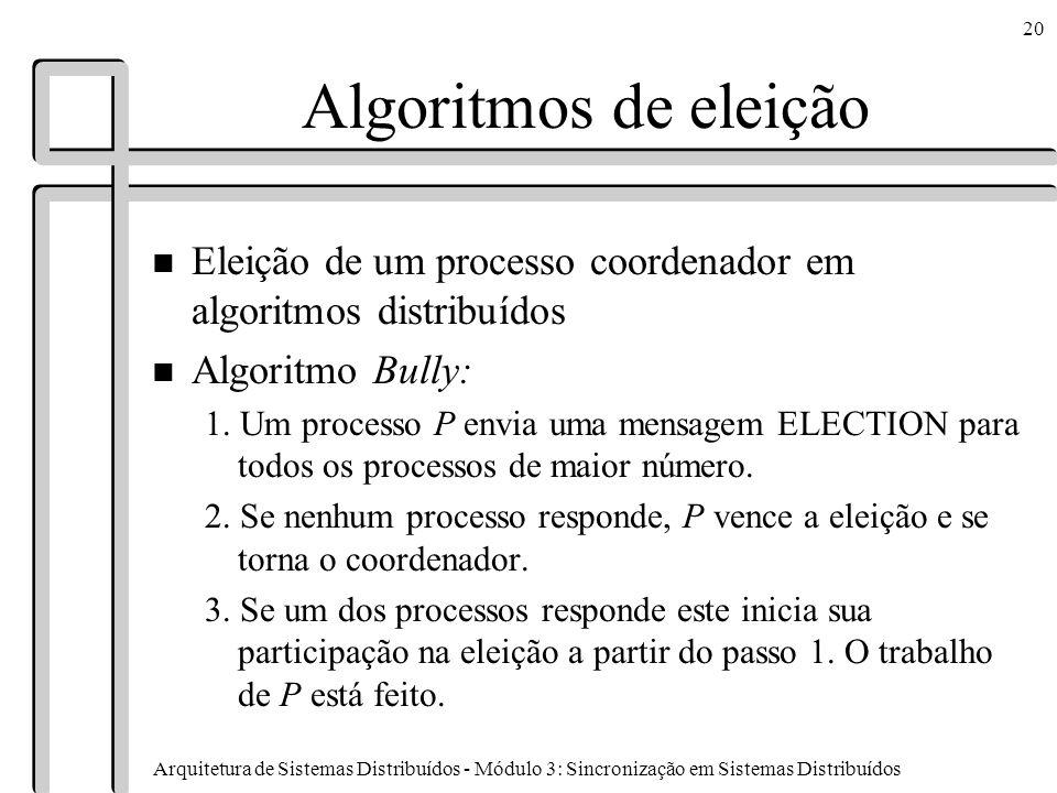 Algoritmos de eleição Eleição de um processo coordenador em algoritmos distribuídos. Algoritmo Bully: