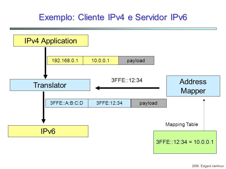 Exemplo: Cliente IPv4 e Servidor IPv6
