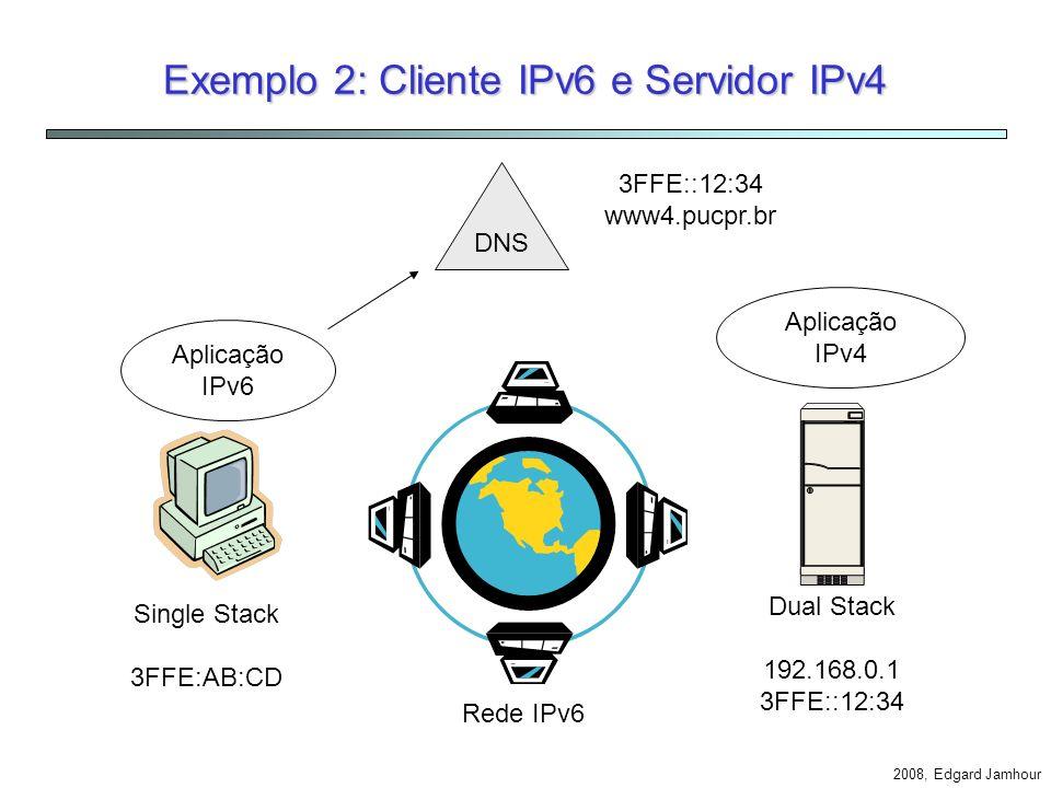 Exemplo 2: Cliente IPv6 e Servidor IPv4