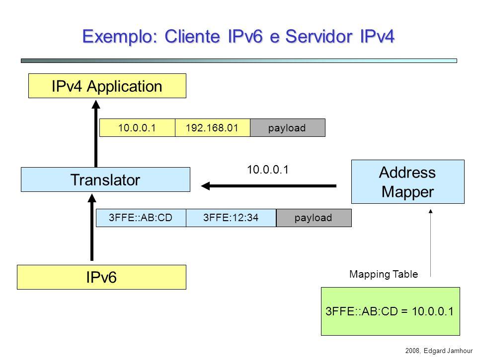 Exemplo: Cliente IPv6 e Servidor IPv4