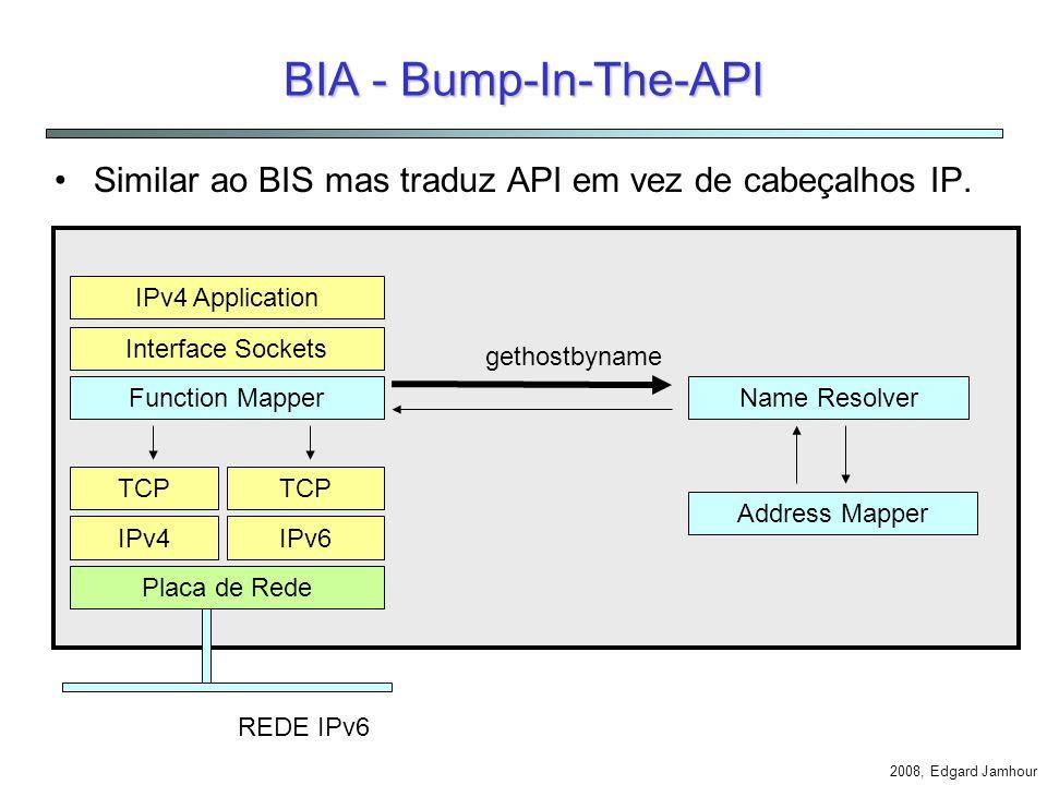 BIA - Bump-In-The-API Similar ao BIS mas traduz API em vez de cabeçalhos IP. IPv4 Application. Interface Sockets.
