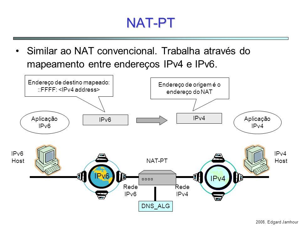 NAT-PT Similar ao NAT convencional. Trabalha através do mapeamento entre endereços IPv4 e IPv6. Endereço de destino mapeado: