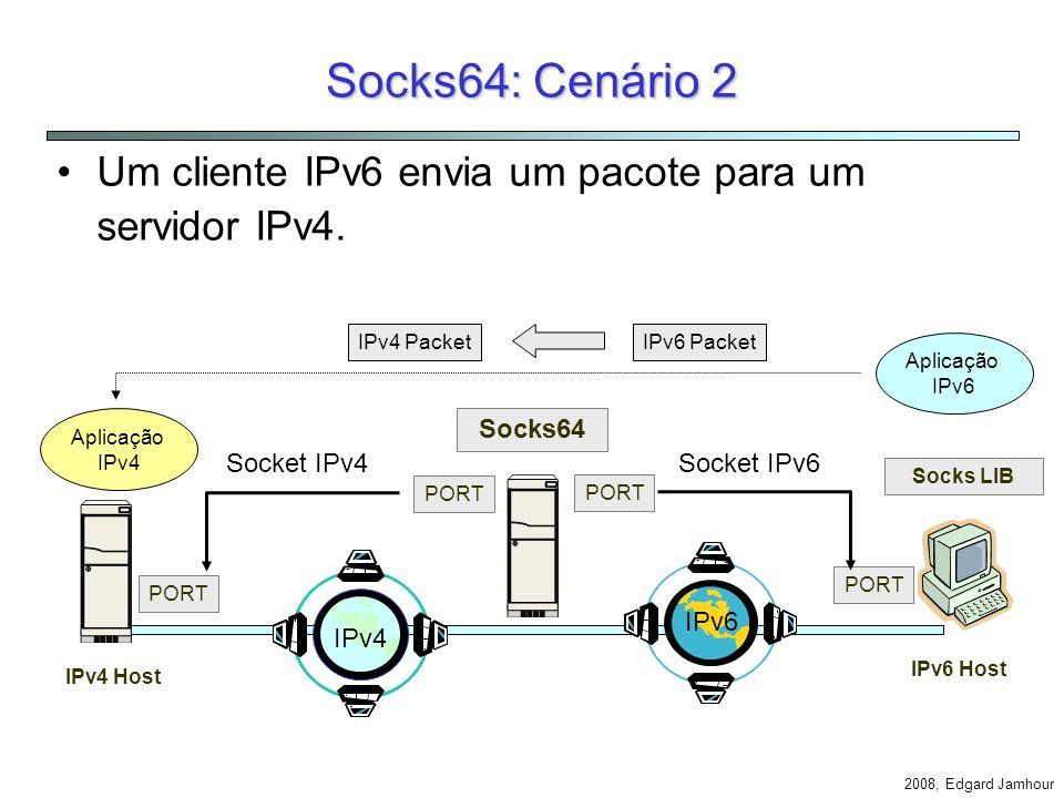 Socks64: Cenário 2 Um cliente IPv6 envia um pacote para um servidor IPv4. IPv4 Packet. IPv6 Packet.