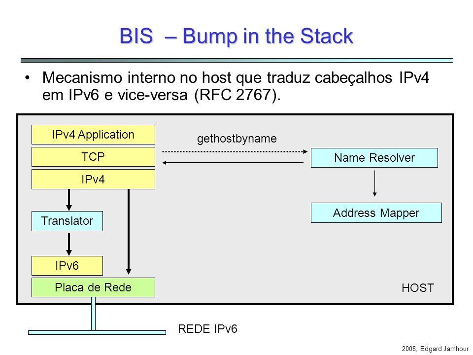 BIS – Bump in the Stack Mecanismo interno no host que traduz cabeçalhos IPv4 em IPv6 e vice-versa (RFC 2767).