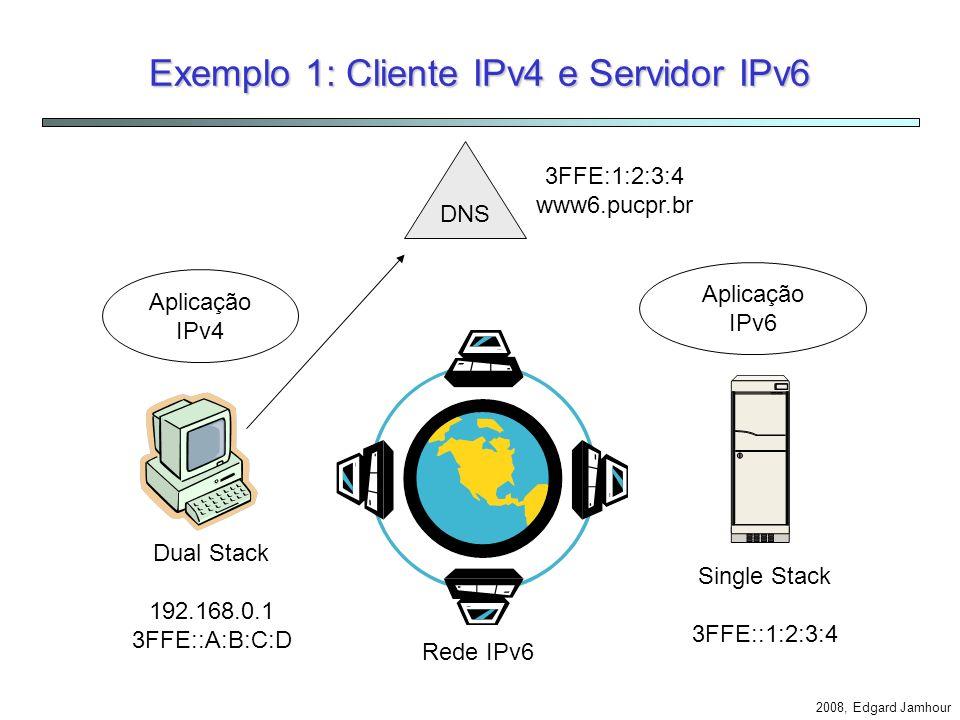 Exemplo 1: Cliente IPv4 e Servidor IPv6