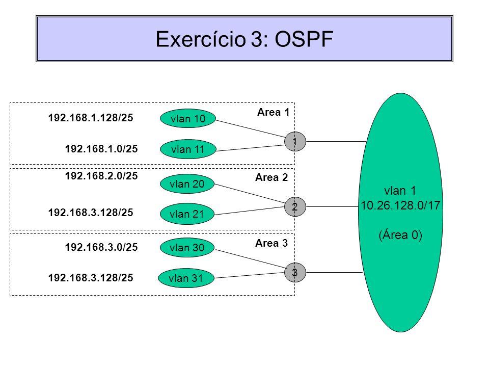 Exercício 3: OSPF vlan 1 10.26.128.0/17 (Área 0) Area 1