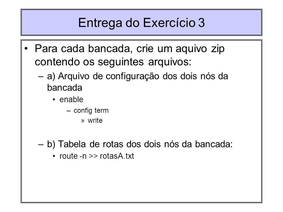 Entrega do Exercício 3 Para cada bancada, crie um aquivo zip contendo os seguintes arquivos: a) Arquivo de configuração dos dois nós da bancada.