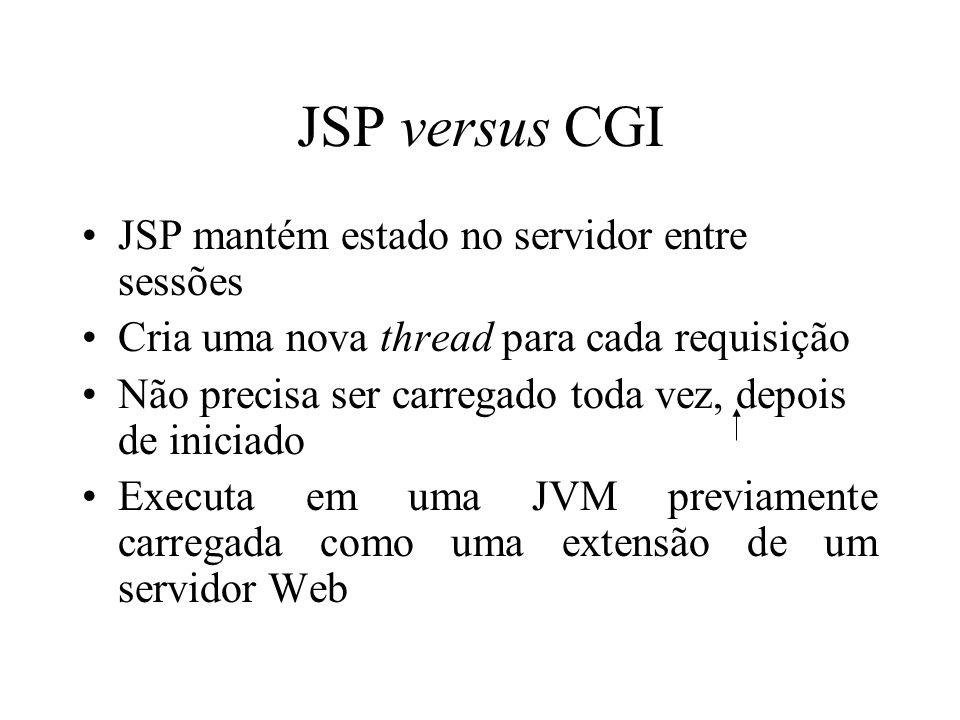JSP versus CGI JSP mantém estado no servidor entre sessões