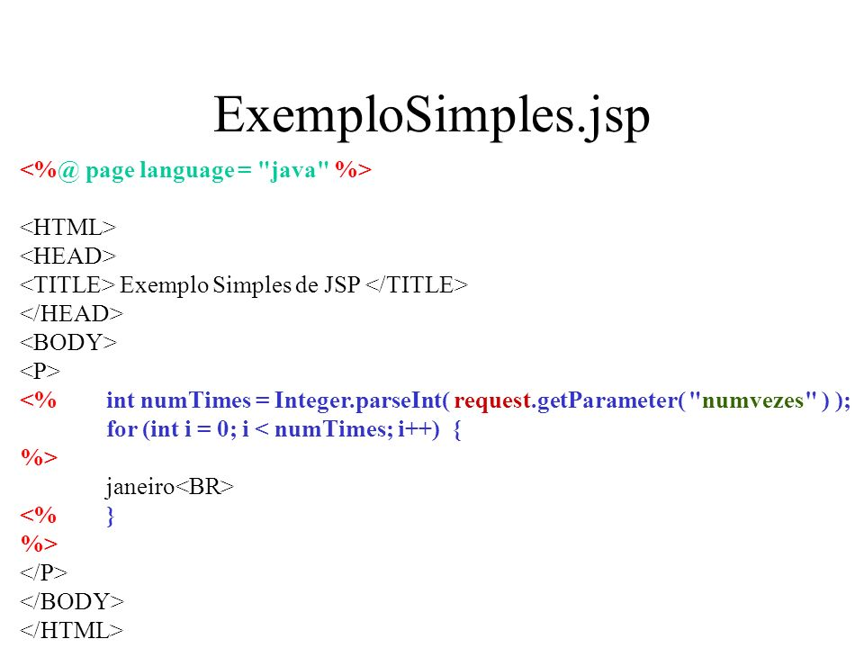 ExemploSimples.jsp <%@ page language = java %> <HTML>