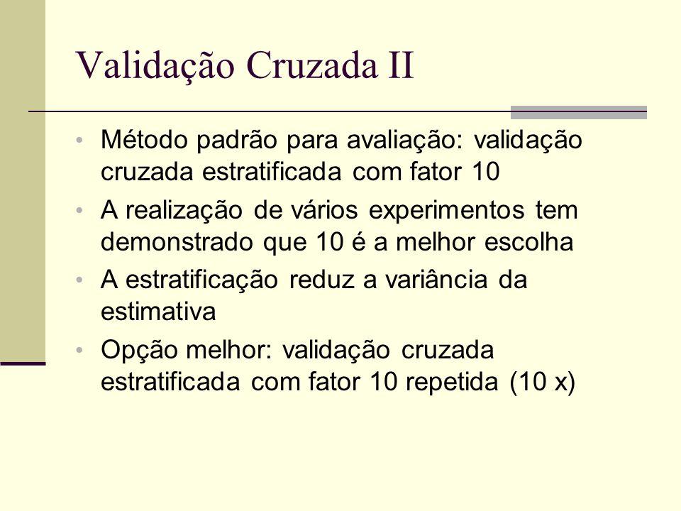 Validação Cruzada II Método padrão para avaliação: validação cruzada estratificada com fator 10.