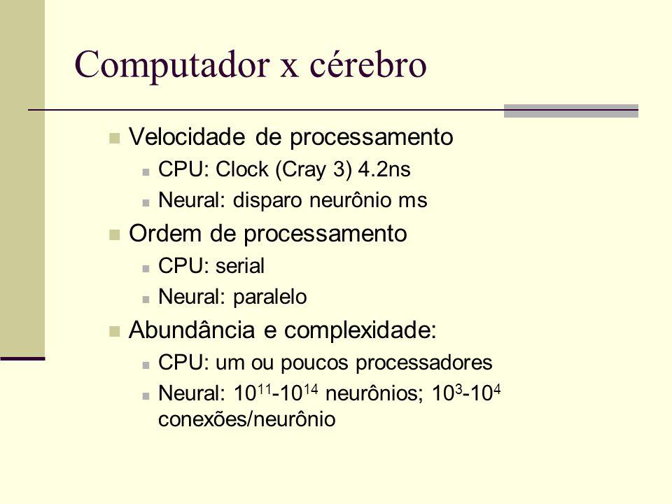 Computador x cérebro Velocidade de processamento