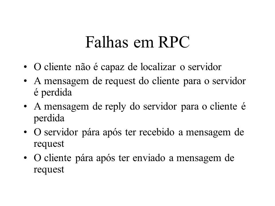 Falhas em RPC O cliente não é capaz de localizar o servidor
