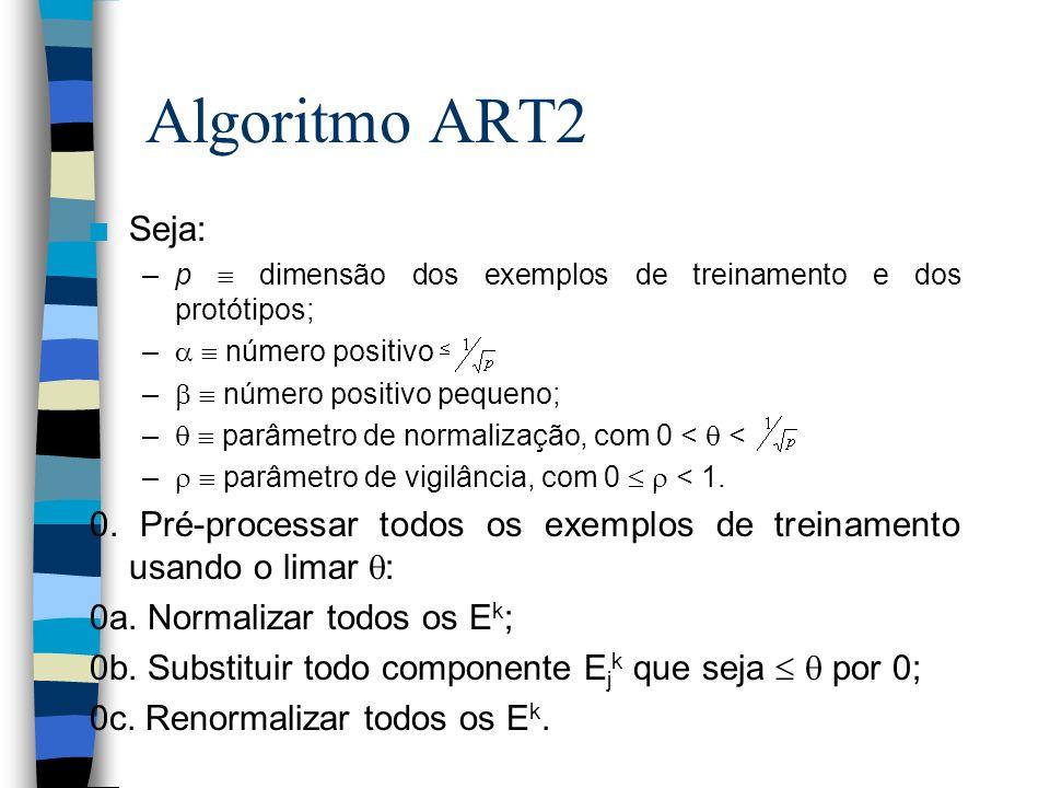 Algoritmo ART2 Seja: p  dimensão dos exemplos de treinamento e dos protótipos;   número positivo.
