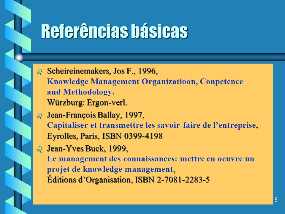 Referências básicas Scheireinemakers, Jos F., 1996, Knowledge Management Organizatioon, Conpetence and Methodology. Würzburg: Ergon-verl.