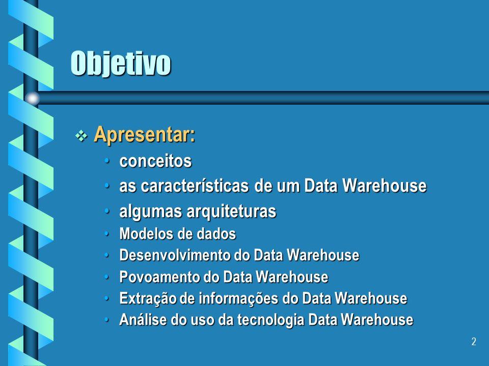 Objetivo Apresentar: conceitos as características de um Data Warehouse
