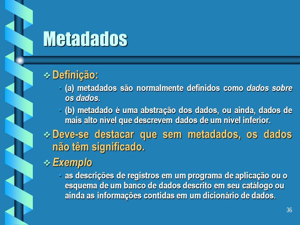 Metadados Definição: (a) metadados são normalmente definidos como dados sobre os dados.