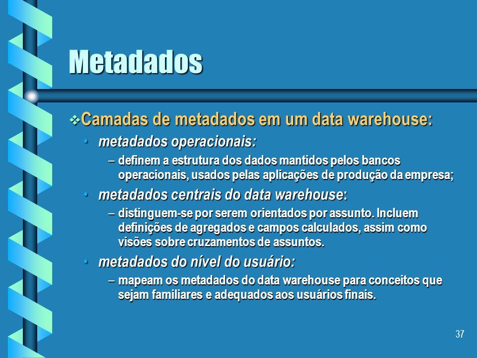 Metadados Camadas de metadados em um data warehouse: