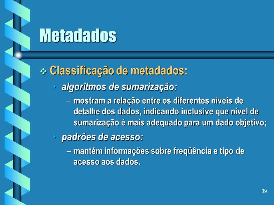 Metadados Classificação de metadados: algoritmos de sumarização: