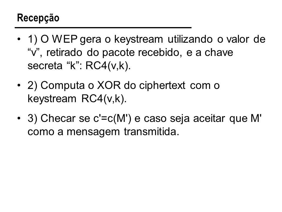 Recepção 1) O WEP gera o keystream utilizando o valor de v , retirado do pacote recebido, e a chave secreta k : RC4(v,k).