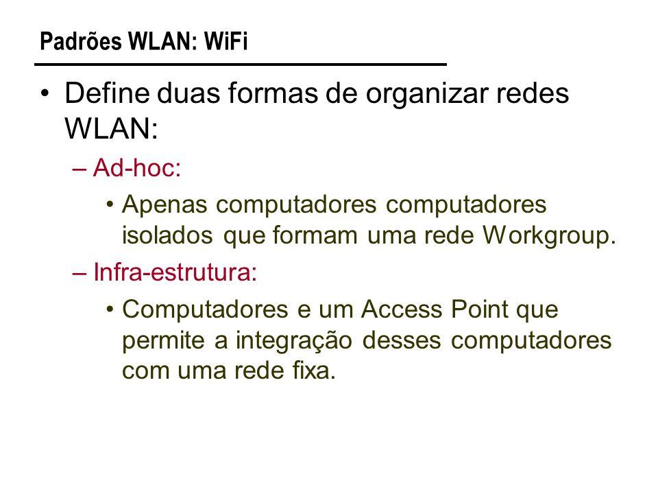 Define duas formas de organizar redes WLAN: