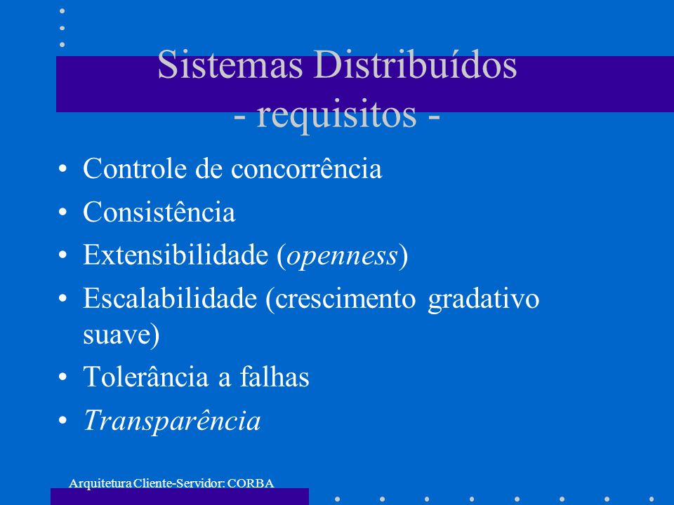 Sistemas Distribuídos - requisitos -
