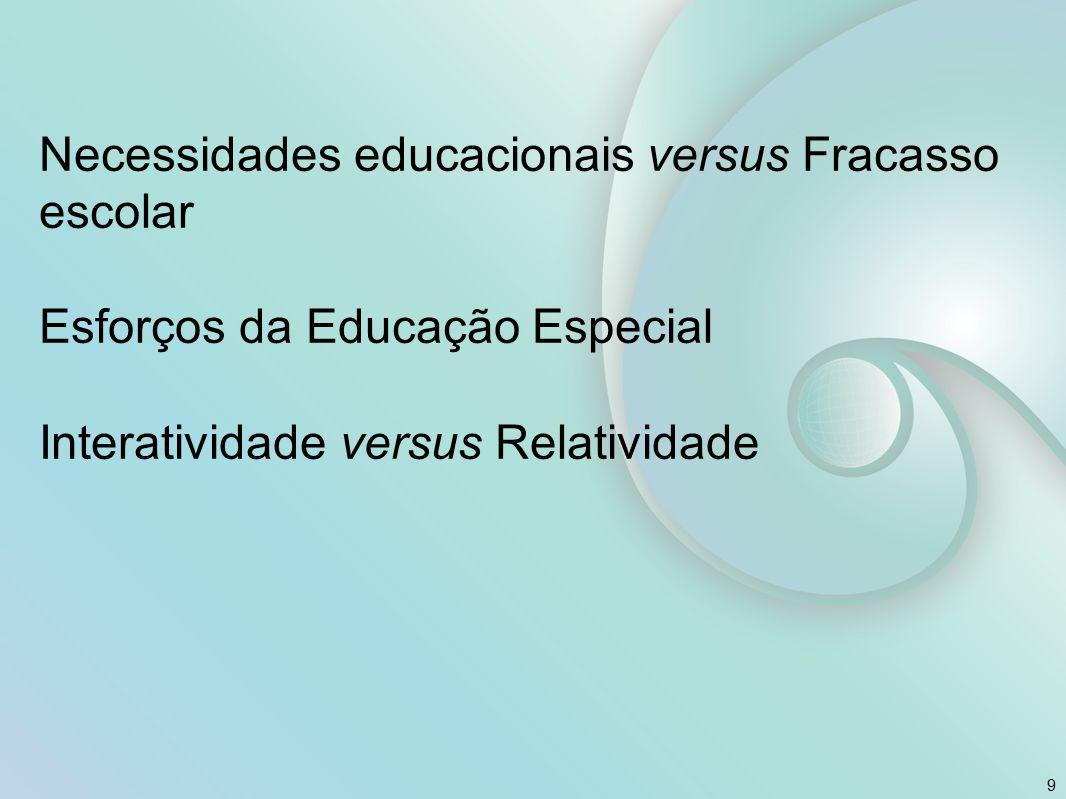 Necessidades educacionais versus Fracasso escolar Esforços da Educação Especial Interatividade versus Relatividade
