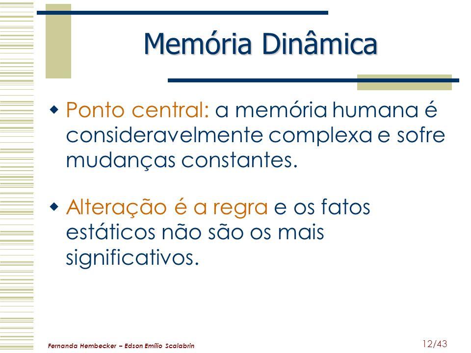 Memória Dinâmica Ponto central: a memória humana é consideravelmente complexa e sofre mudanças constantes.