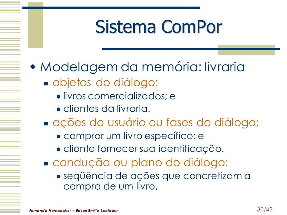Sistema ComPor Modelagem da memória: livraria objetos do diálogo: