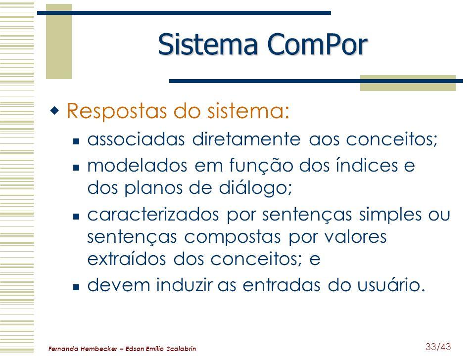 Sistema ComPor Respostas do sistema: