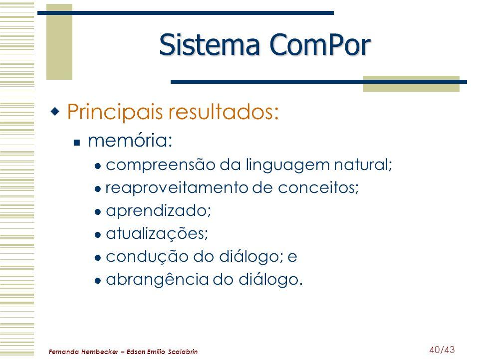 Sistema ComPor Principais resultados: memória: