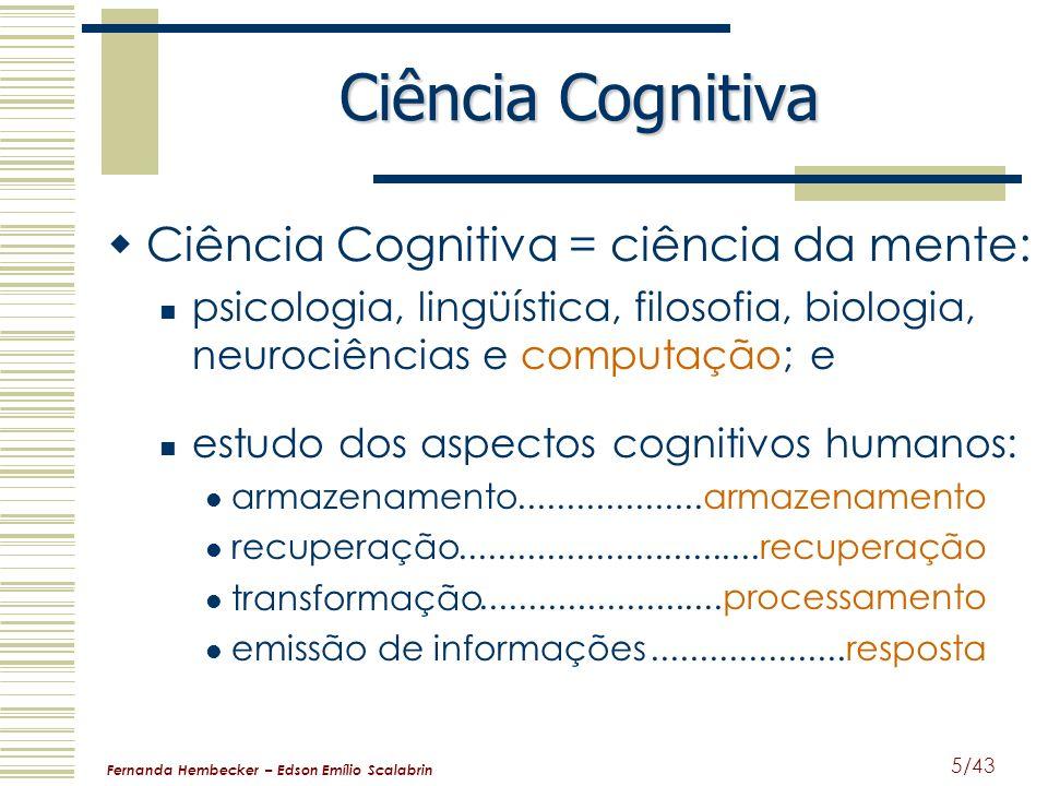 Ciência Cognitiva Ciência Cognitiva = ciência da mente: