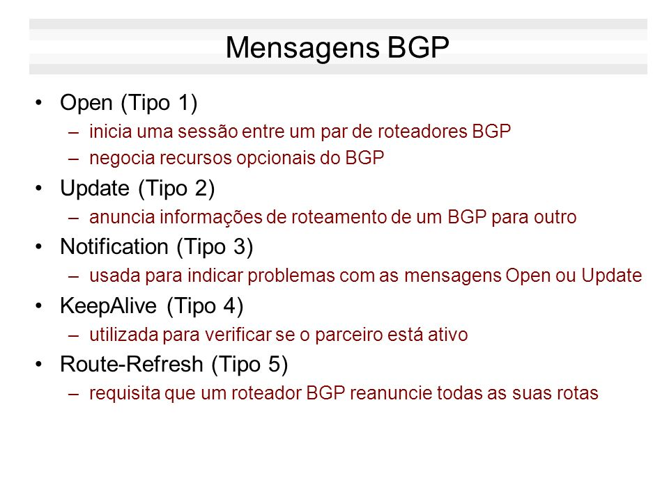 Mensagens BGP Open (Tipo 1) Update (Tipo 2) Notification (Tipo 3)
