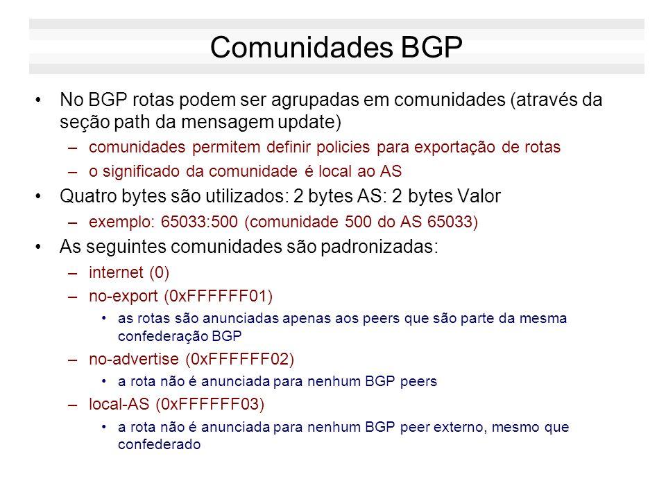 Comunidades BGP No BGP rotas podem ser agrupadas em comunidades (através da seção path da mensagem update)