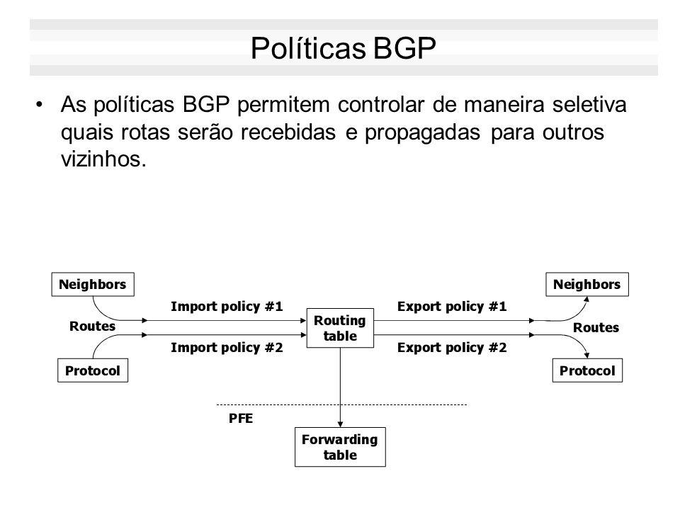Políticas BGP As políticas BGP permitem controlar de maneira seletiva quais rotas serão recebidas e propagadas para outros vizinhos.