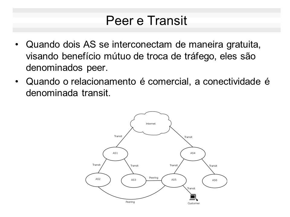 Peer e Transit Quando dois AS se interconectam de maneira gratuita, visando benefício mútuo de troca de tráfego, eles são denominados peer.