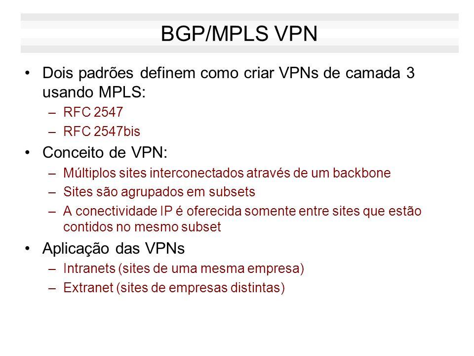 BGP/MPLS VPN Dois padrões definem como criar VPNs de camada 3 usando MPLS: RFC 2547. RFC 2547bis.