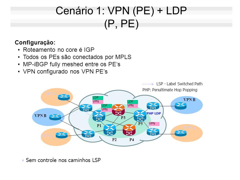 Cenário 1: VPN (PE) + LDP (P, PE)