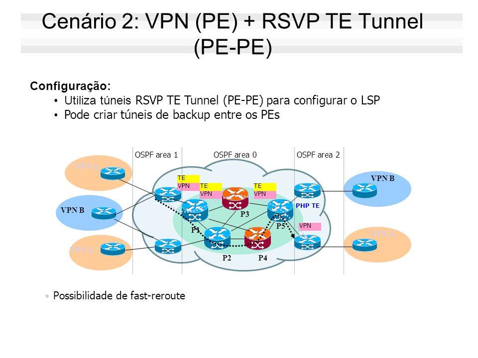Cenário 2: VPN (PE) + RSVP TE Tunnel (PE-PE)
