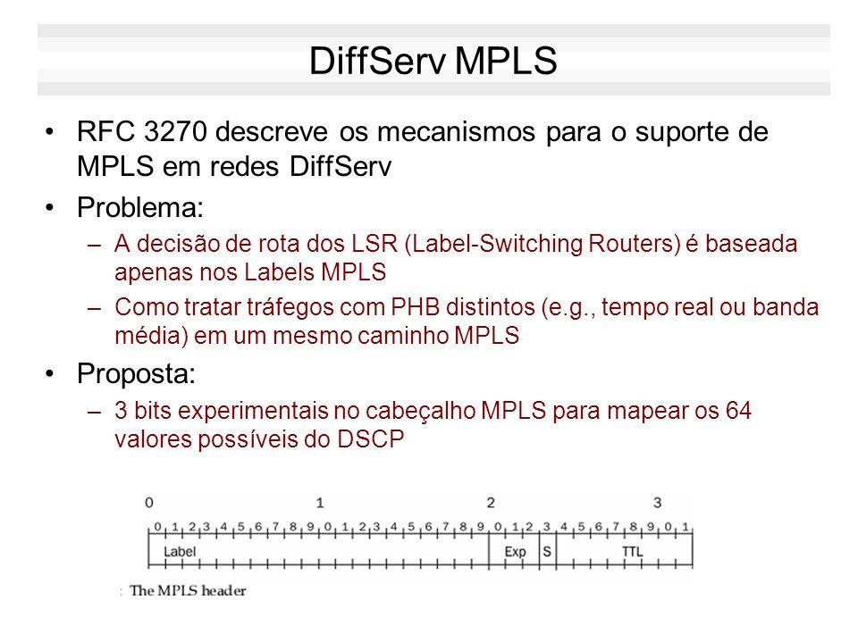 DiffServ MPLS RFC 3270 descreve os mecanismos para o suporte de MPLS em redes DiffServ. Problema: