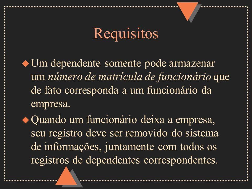 RequisitosUm dependente somente pode armazenar um número de matrícula de funcionário que de fato corresponda a um funcionário da empresa.