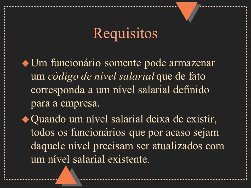 Requisitos Um funcionário somente pode armazenar um código de nível salarial que de fato corresponda a um nível salarial definido para a empresa.