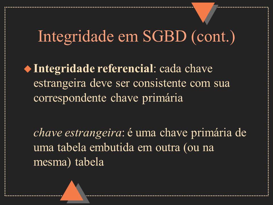 Integridade em SGBD (cont.)