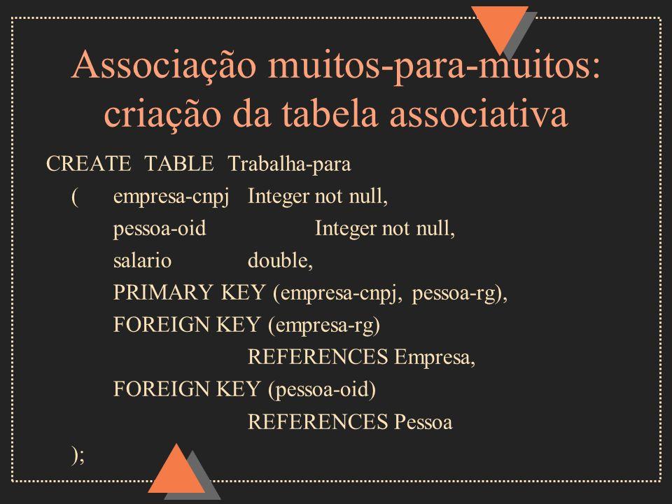 Associação muitos-para-muitos: criação da tabela associativa
