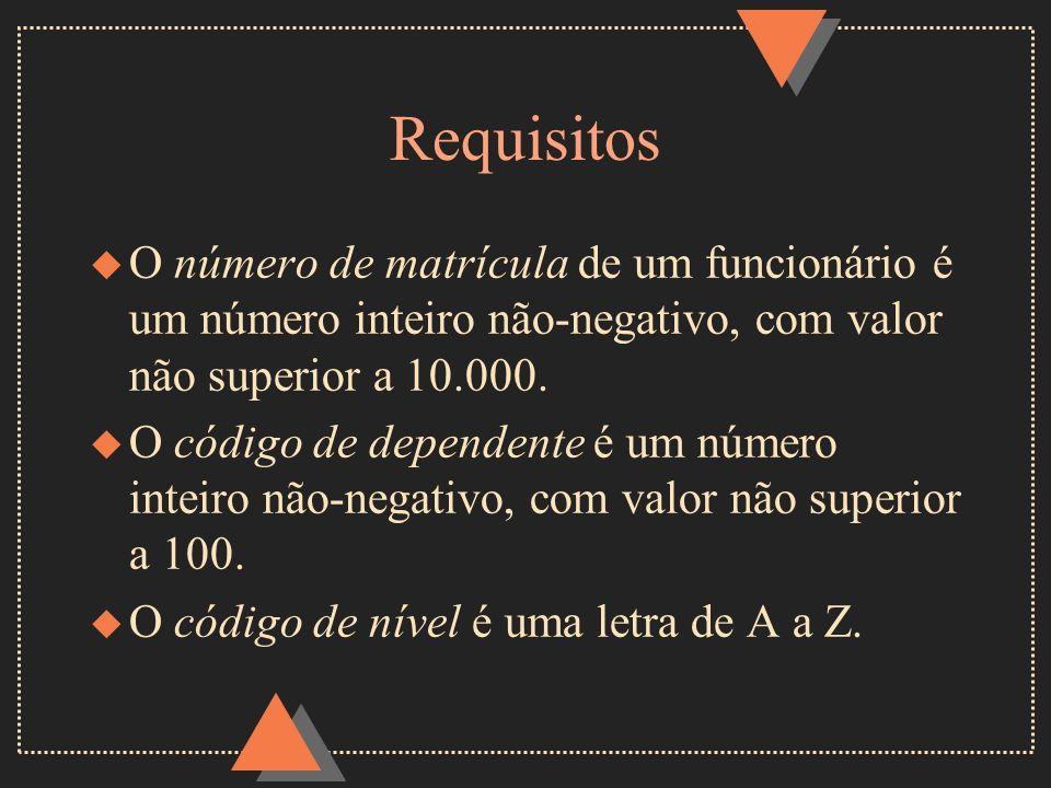 RequisitosO número de matrícula de um funcionário é um número inteiro não-negativo, com valor não superior a 10.000.