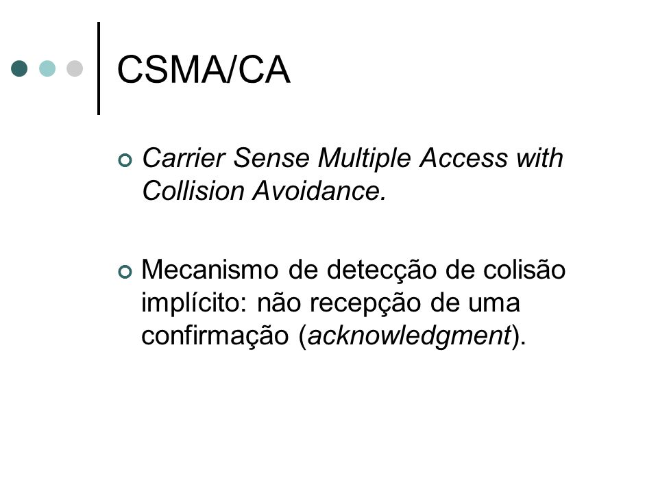 CSMA/CA Carrier Sense Multiple Access with Collision Avoidance.
